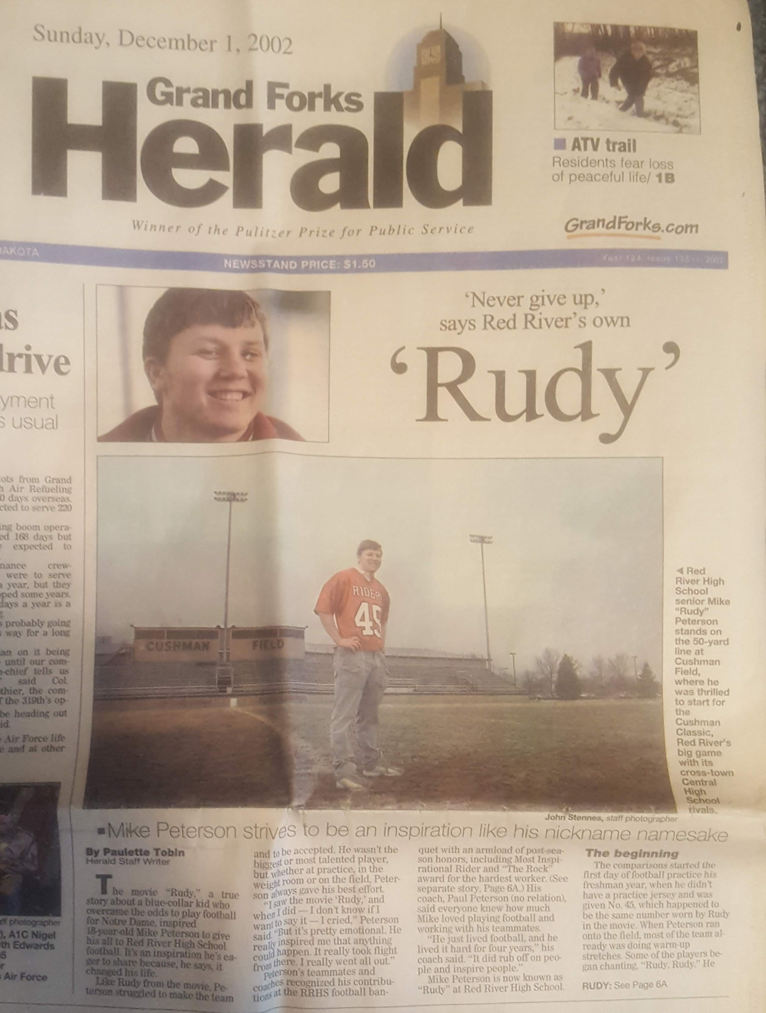 A Newspaper Clipping from High School Days Discussing My Football Story